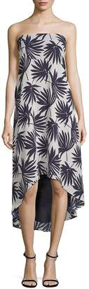 Lucca Couture Women's Delilah Palm-Print Strapless Hi-Lo Dress