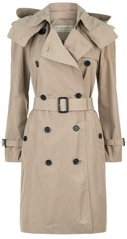 Detachable Hood Taffeta Trench Coat