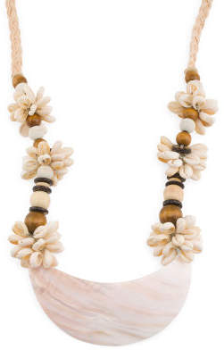 Blush Corded Puca Shell And Wooden Bead Abalone Necklace