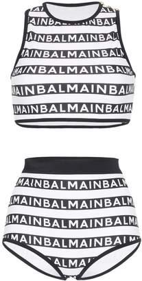 Balmain logo print tankini