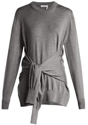 Chloé Tie Front Wool Sweater - Womens - Grey