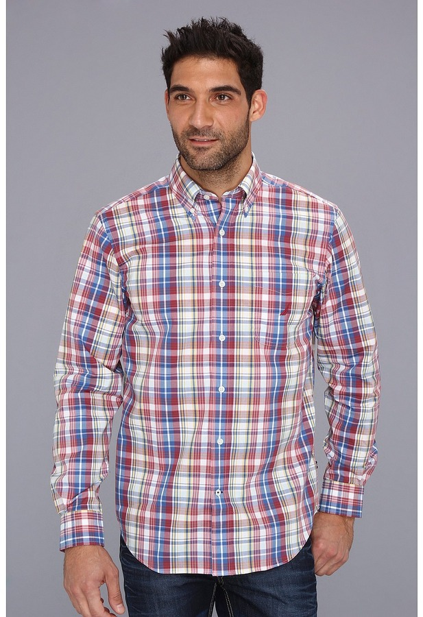 Nautica Wrinkle Resistant Poplin Plaid L/S Shirt (Shore Rose) - Apparel