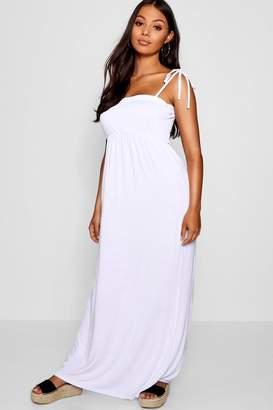boohoo Petite Meg Shirred Bandeau Tie Strap Maxi Dress