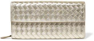 Bottega Veneta Metallic Intrecciato Leather Continental Wallet - Gold
