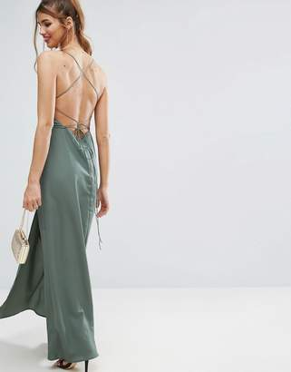 Asos Plunge Strap Back Maxi Dress