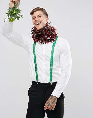 Asos Holidays Suspenders With Candy Cane Print In Green