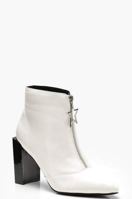 boohoo Star Trim Block Heel Ankle Shoe Boots
