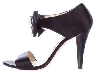 Oscar de la Renta Embellished Satin Sandals