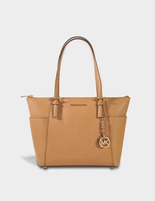 MICHAEL Michael Kors Jet Set Item EW Top Zipped Tote Bag in Acorn Saffiano Leather