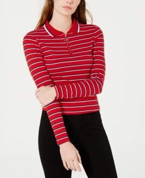Ultra Flirt Juniors' Striped Ribbed Zip-Neck Polo Top