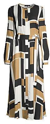 Lafayette 148 New York Women's Emberly Graphic Colorblock Maxi Shirtdress