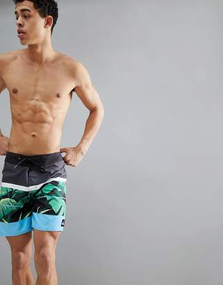 Quiksilver Slab Island 17 Leaf Print Boardshort In Black/Green