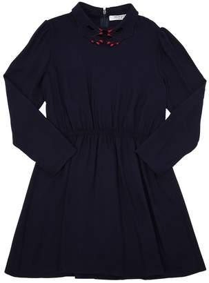Hands Collar Light Viscose Flannel Dress