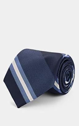 Fairfax Men's Striped Silk Jacquard Necktie - Navy