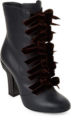 Marco De Vincenzo Elephant Velvet Bow Leather Ankle Boots
