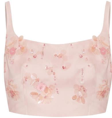Prada - Cropped Appliquéd Silk-gazar Top - Blush
