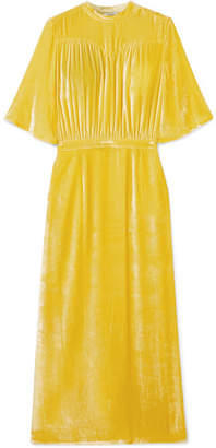 ATTICO Gathered Velvet Midi Dress - Yellow