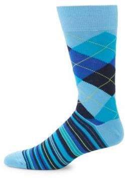 Argyle and Stripe Mid-Calf Socks