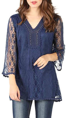 Asstd National Brand Fully Lined Lace Blouse With Studs