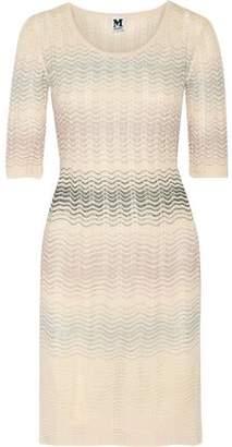 M Missoni Striped Crochet-Knit Cotton-Blend Mini Dress
