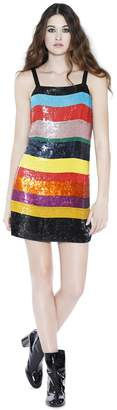 Alice + Olivia Bridget Striped Sequin Slip Dress