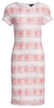 St. John Women's Becca Knit Boatneck Sheath Dress - Coral White Multi - Size 2