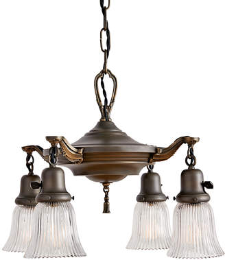 Rejuvenation Aladdin Pan Chandelier w/ Holophane Shades