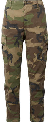 RE/DONE Camouflage-print Cotton-canvas Tapered Pants - Green