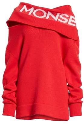 Monse Logo Off the Shoulder Wool Blend Sweater