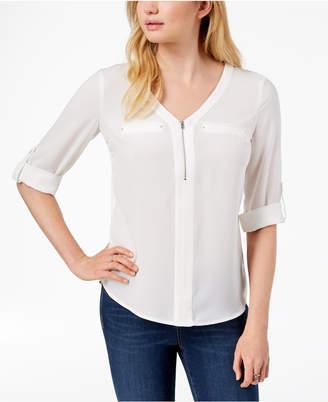 BCX Juniors' Zip-Front Roll-Tab-Sleeve Shirt