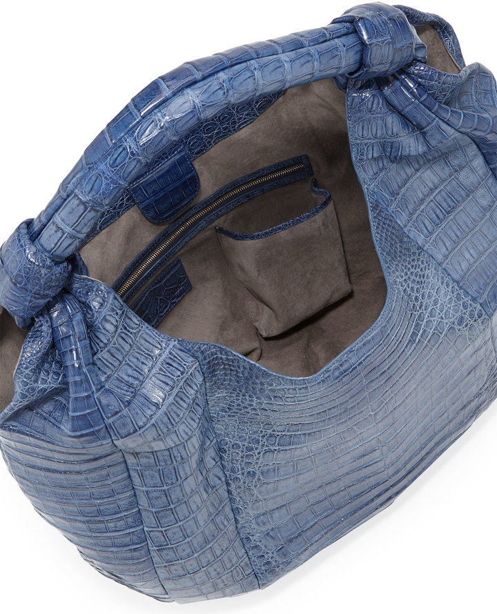 Nancy Gonzalez Crocodile Hobo Bag, Blue
