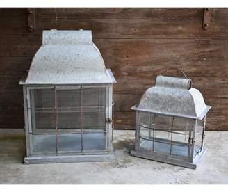 August Grove Galvanized 2 Piece Metal Lantern Set