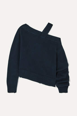 RtA Beckett Asymmetric Off-the-shoulder Cotton Sweater - Navy