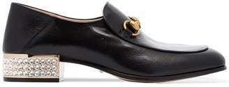 Gucci leather mister crystal heel loafers