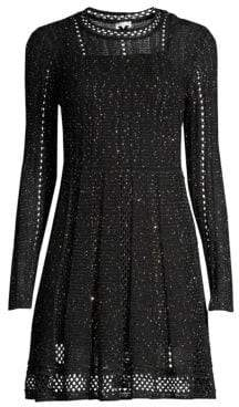 M Missoni Women's Sparkle Long-Sleeve Knit A-Line Dress - Grey Black - Size 36 (0)