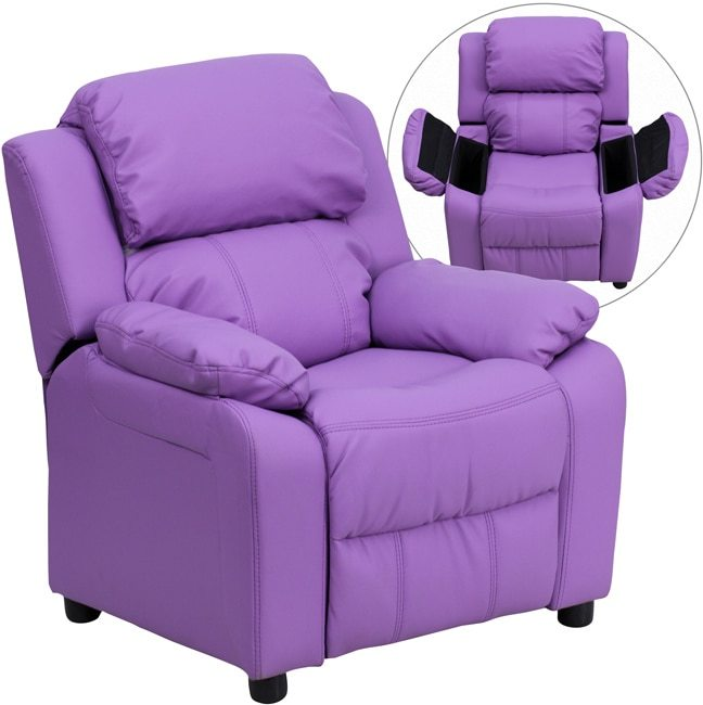 Flash Furniture Deluxe Heavily Padded Contemporary Lavender Vinyl Kids Recliner with Storage Arms