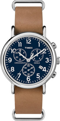 Timex Weekender Slip-Thru Tan Leather Strap Chronograph Watch TW2P623009J $63.96 thestylecure.com