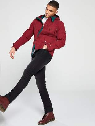Pretty Green Contrast Hooded Jacket - Red