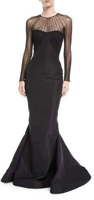 Zac Posen Tulle Illusion Long-Sleeve Silk Faille Trumpet Evening Gown