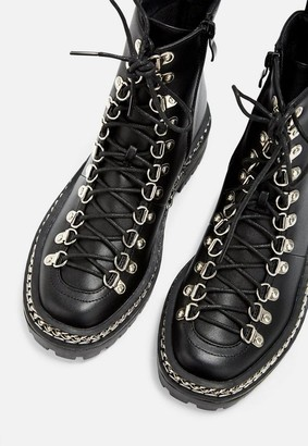 Missguided Black Chunky Chain Lace Up Ankle Boots