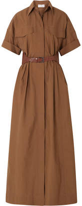 Brunello Cucinelli Belted Crinkled Cotton-blend Maxi Dress - Brown