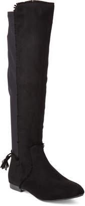 Gc Shoes Black Delilah Fringe Knee-High Stretch Boots