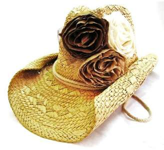 Olive & Pique Fabric-Rosette Cowgirl Hat