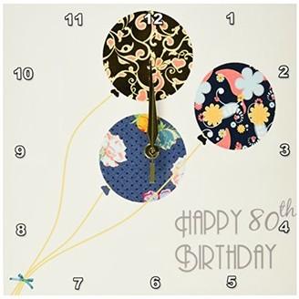 3dRose Happy 80th Birthday - Modern stylish floral Balloons. Elegant black brown blue 80 year old Bday, Wall Clock, 10 by 10-inch