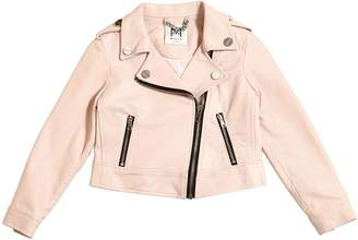 Milly Minis Cropped Faux Leather Biker Jacket