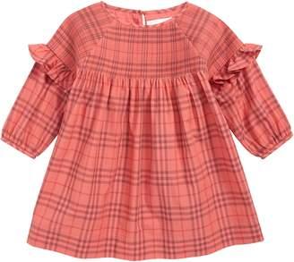 Burberry Mini Loralie Ruffle Detail Check Cotton Dress