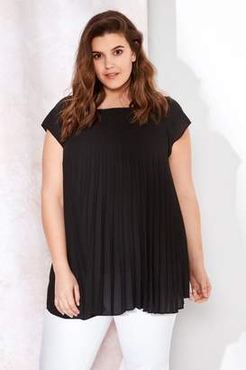 Live Unlimited Womens Black Sunray Pleat Top - Black
