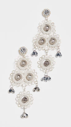 Oscar de la Renta Mixed Stone and Crystal Earrings