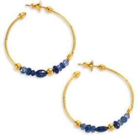 """Gurhan Delicate Rain Blue Sapphire& 24K Yellow Gold Hoop Earrings/1.5"""""""