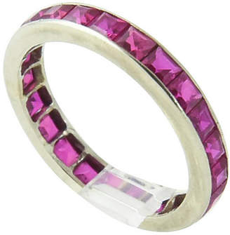 One Kings Lane Vintage Art Deco Ruby & Gold Eternity Band - Owl's Roost Antiques